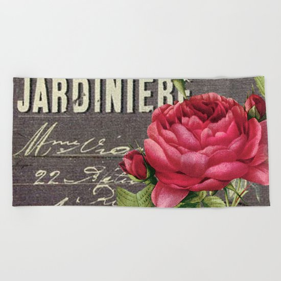 Vintage red rose #2 Beach Towel