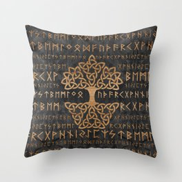Elder Futhark Pattern and Tree of life Throw Pillow
