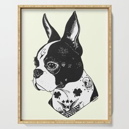 Dog - Tattooed BostonTerrier Serving Tray