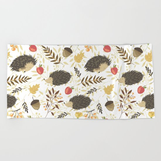 Cute hedgehogs Beach Towel