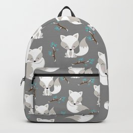 ARCTIC FOXES ON GREY Backpack