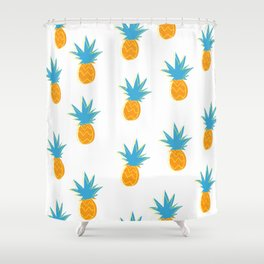 Neon Pop Art Pineapple Frenzy Pattern Shower Curtain