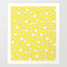 Sunny Yellow Flying Books Pattern Art Print