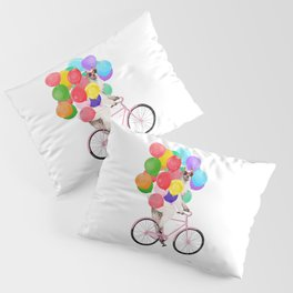 Fashion Llama Riding with Colourful Balloons Pillow Sham