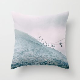 Cable car on a misty mountain high up Throw Pillow