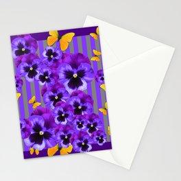 DECORATIVE GOLDEN YELLOW BUTTERFLIES PURPLE PANSY PILLOW ART Stationery Cards