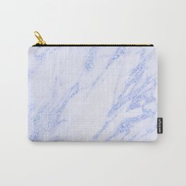 Blue Marble - Shimmery Glittery Cornflower Sky Blue Marble Metallic Carry-All Pouch