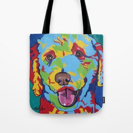 Labradoodle or Goldendoodle Pop Art Dog Pet Portrait Tote Bag