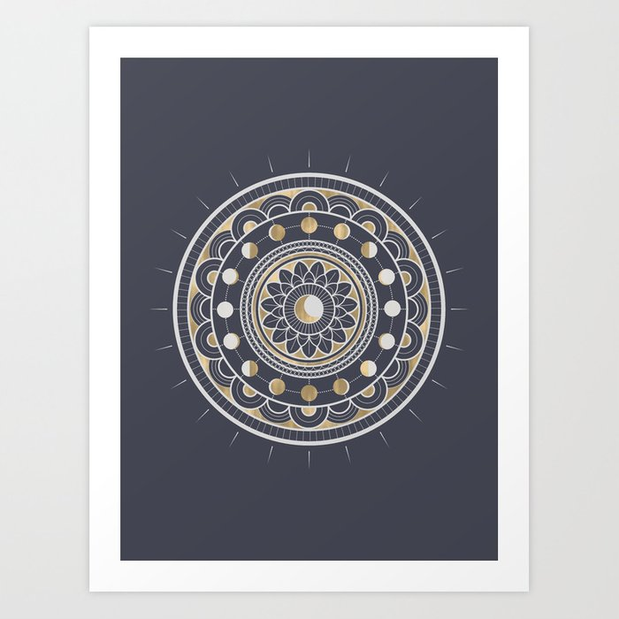 Winter Moon Mandala Art Print