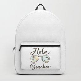 Hola Beaches Sunglasses Cute Funny Beach Vacation Palm Tree Backpack