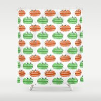 macaron Shower Curtains featuring French Macaron Pattern  by Cool Prints