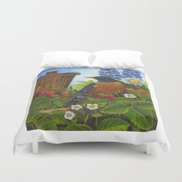 Robin and Old Wooden Bucket Duvet Cover