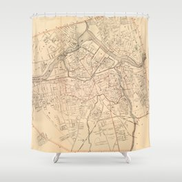 Vintage Map of Lowell MA (1904) Shower Curtain