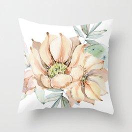 Coral Desert Roses Throw Pillow