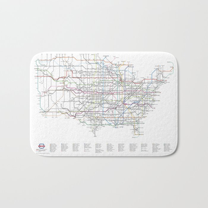 As A Subway Map.U S Numbered Highways As A Subway Map Bath Mat By Cambooth
