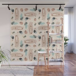Leopard and Palm wild pattern print by Kristen Baker Wall Mural