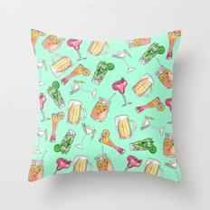 Fun Summer Watercolor Painted Mixed Drinks Pattern Throw Pillow