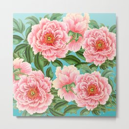 Pink Peonies On Teal Metal Print