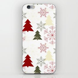 Christmas pattern with gift boxes and snowflakes. iPhone Skin