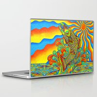 trout Laptop & iPad Skins featuring Psychedelic Rainbow Trout by Rebecca Wang