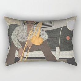Trombone musician and his 1946 Dodge pickup truck Rectangular Pillow