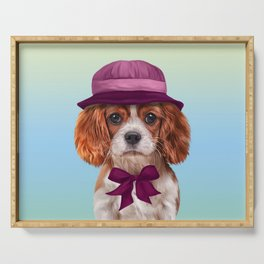Drawing dog breed Cavalier King Charles Spaniel Serving Tray