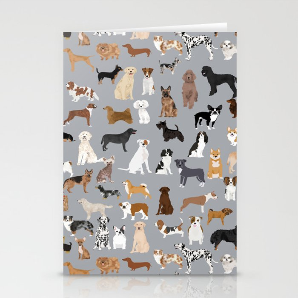 Mixed Dog lots of dogs dog lovers rescue dog art print pattern grey poodle shepherd akita corgi Stationery Cards