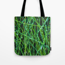 closeup green grass field texture with raindrops Tote Bag