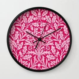 Art Nouveau Floral Damask, Deep Fuchsia Pink Wall Clock