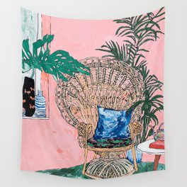 Peacock Chair in Pink Jungle Interior Wall Tapestry