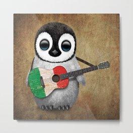 Baby Penguin Playing Italian Flag Guitar Metal Print
