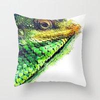 chameleon Throw Pillows featuring chameleon by jbjart