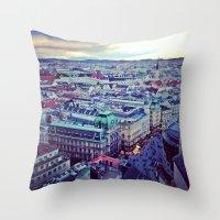 vienna Throw Pillows featuring Vienna by SandraHuezo