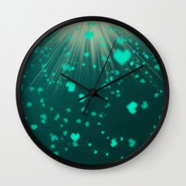 small colored hearts flying Wall Clock