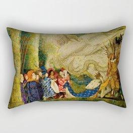 Sleeping Beauty The Aged King Pleads with the Good-Fairy Fairy Tale Portrait by Leon Bakst Rectangular Pillow