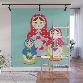 Turquoise babushka , matryoshka , russian doll , nursery decor , children gift, birthday gift Wall Mural
