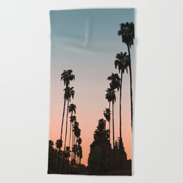 California Sunset // Palm Tree Silhouette Street View Orange and Blue Color Sky Beach Photography Beach Towel