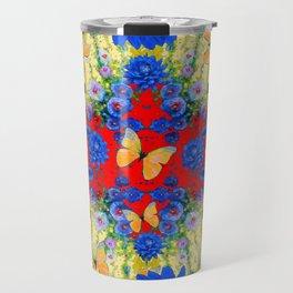 VERY BLUE  FLOWERS YELLOW BUTTERFLIES PATTERN ART Travel Mug