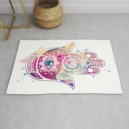 Hamsa Hand Colorful Purple Watercolor Art Gift Rug