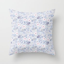 Crystalised Rose in Lilac Haze Throw Pillow