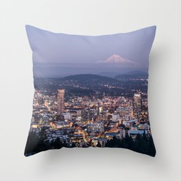 Portland Evening Urban Cityscape With Mt Hood Throw Pillow