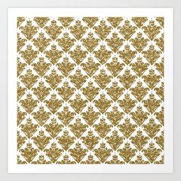 Faux White and Gold Glitter Small Damask Art Print