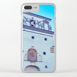 Ancient gate of Dawn into Old city in Vilnius Clear iPhone Case