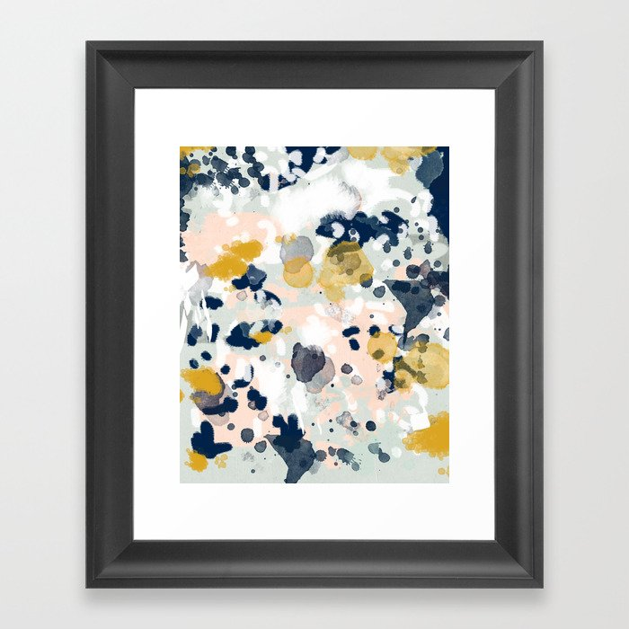 Noel navy mint gold painted abstract brushstrokes minimal modern canvas art painting framed art print