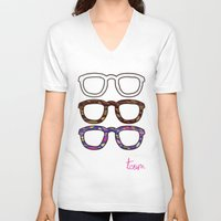 glasses V-neck T-shirts featuring Glasses by @thecultureofme