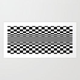 Black And White Squares Optical Illusion Art Print