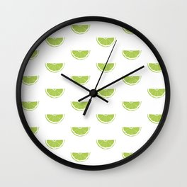 Lime Wedge Print and Pattern Wall Clock