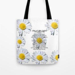 Daisy Flower with Christian Faith Base Poem Tote Bag