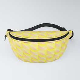 Pyromidal pattern of yellow squares and striped orange triangles. Fanny Pack