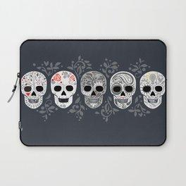 Celebracion de Gris_Calaveras Sugar Skulls line_RobinPickens Laptop Sleeve
